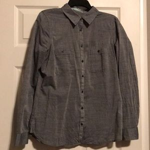Gray button up top
